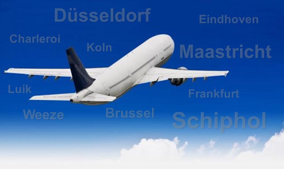 Vliegtuig met vliegvelden
